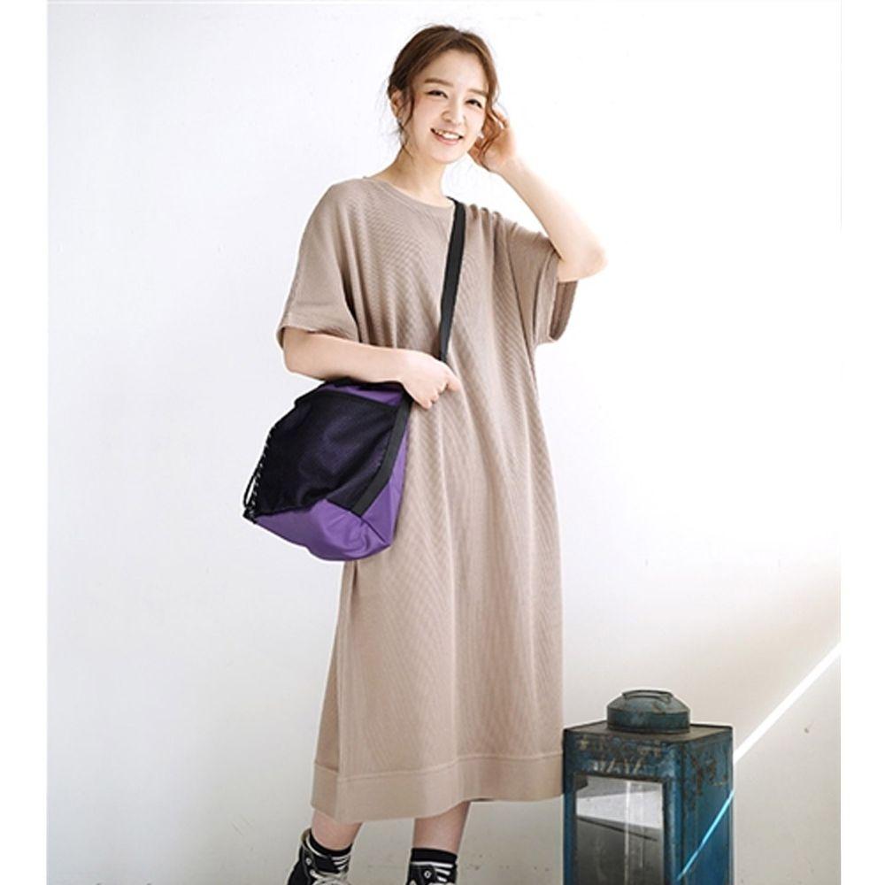日本 zootie - 純棉 顯瘦鬆餅紋五分袖洋裝-灰杏 (Free)