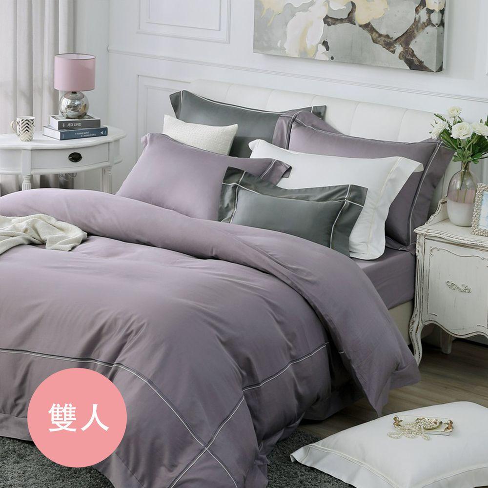 鴻宇HONGYEW - 經典奢華60織300條純色刺繡雙人床包組-神秘紫-紫-5X6.2