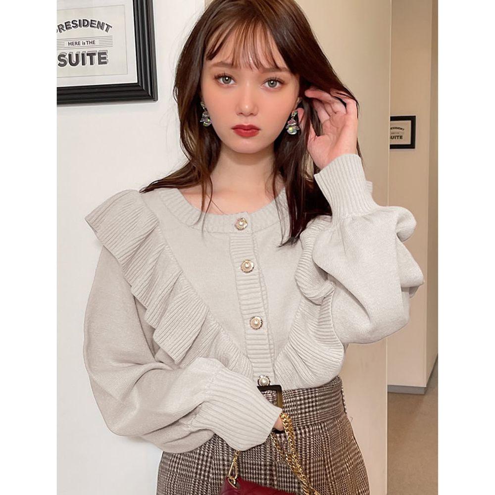 日本 GRL - 荷葉珍珠釦短版長袖針織上衣/外套-米