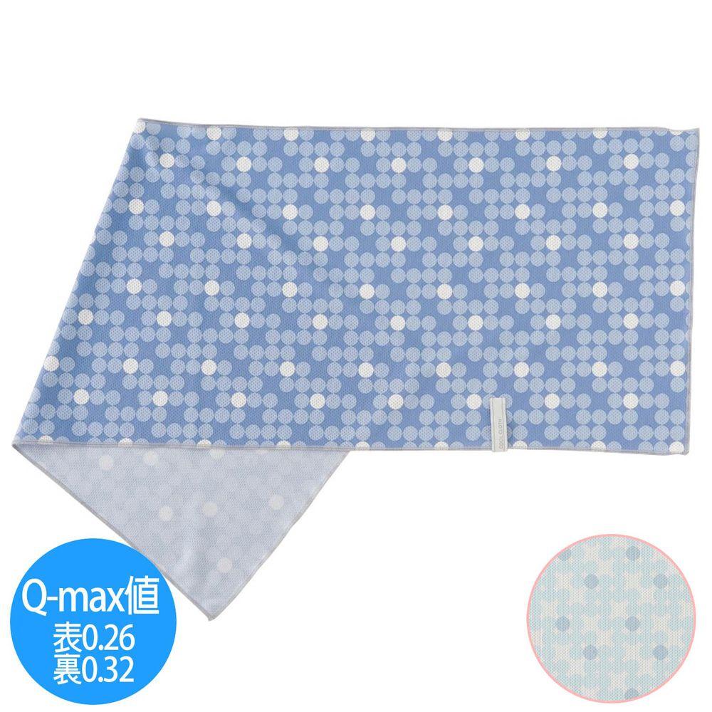 日本小泉 - UV cut 90% 接觸冷感 水涼感巾(附收納袋)-漸層波點-淺藍白 (30x90cm)