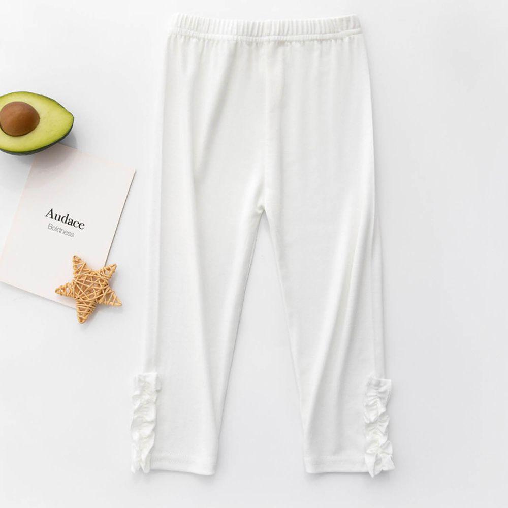 FANMOU - 七分內搭褲(莫代爾)-木耳-白色