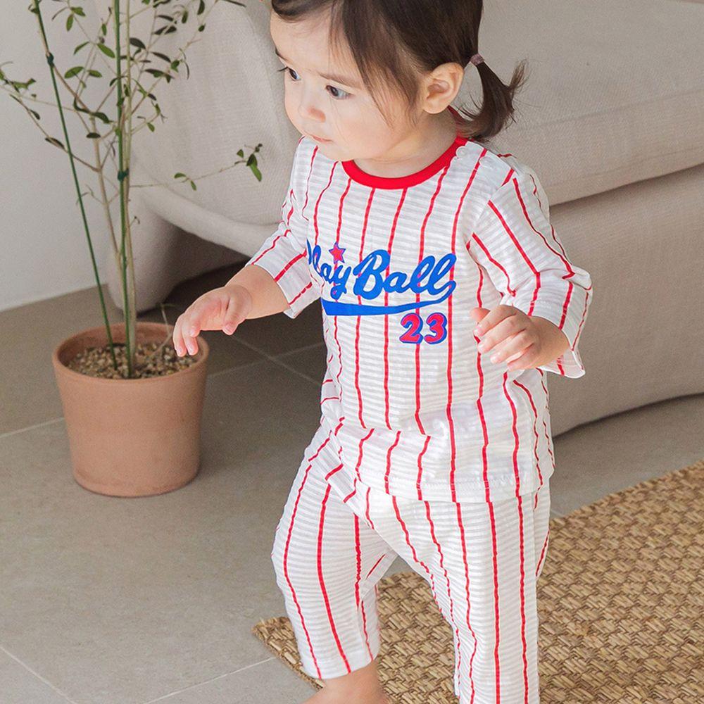 韓國 Cordi-i - 無螢光棉透氣緹花七分袖家居服-棒球選手-紅