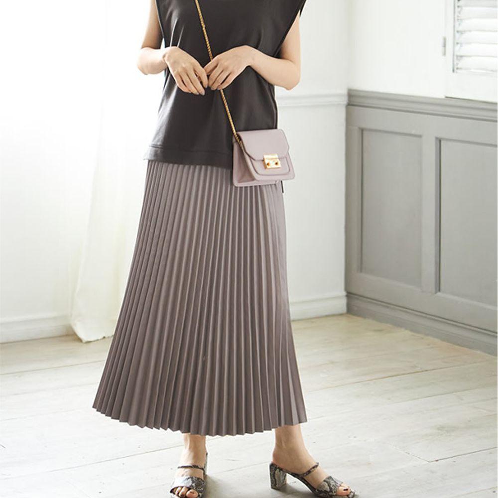 日本 GRL - 光澤皮質百褶長裙-灰杏