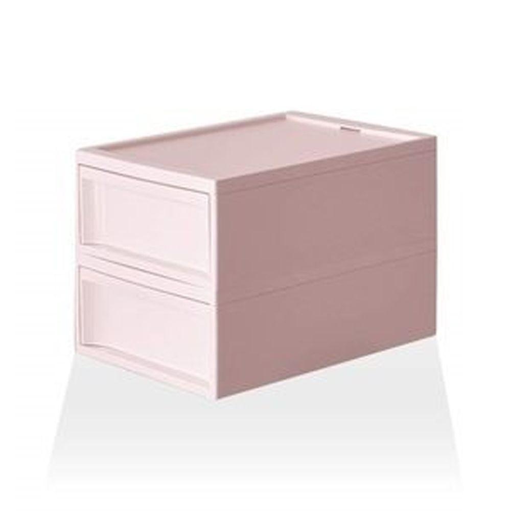 日本RISH - RISU 北歐風堆疊抽屜櫃組-粉紅色-M