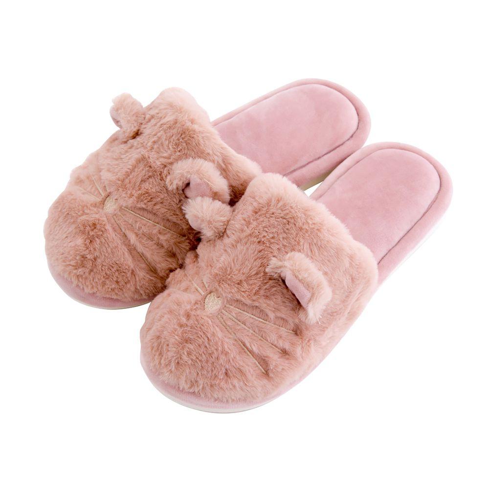 日本 BISQUE - 保暖室內拖-動物毛絨-粉 (M(23-24.5cm))