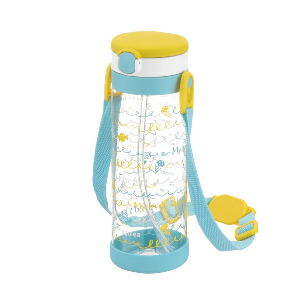 日本 Richell 利其爾 - 棒棒糖吸管冷水壺450ml-棒棒糖果圖案-黃
