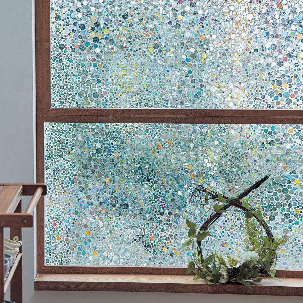 日本千趣會 - 日本製 99%抗UV光影窗貼(靜電式)-彩色波點