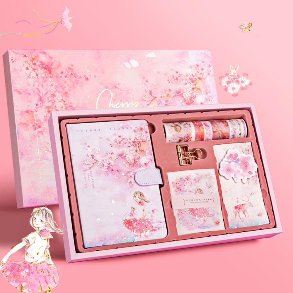 紙膠帶+手帳本禮盒-澗花映粉