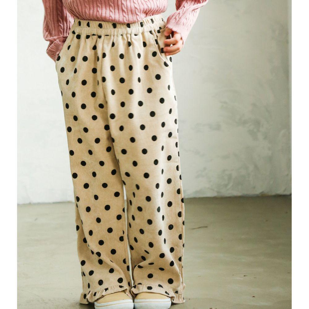 日本 PAIRMANON - 荷葉造型寬褲-點點-米杏
