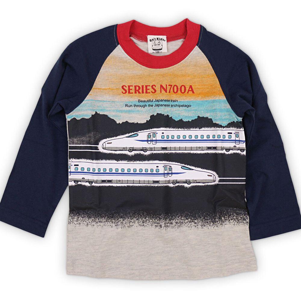 日本服飾代購 - 純棉印花長袖上衣-新幹線N700A系列-深藍X燕麥