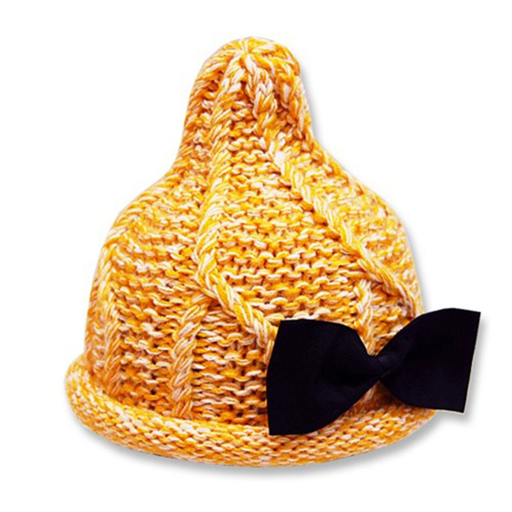 日本 ROMPING UNIVERSE - 可愛保暖帽-小童款-針織小精靈毛帽_芥末黃-93-6004