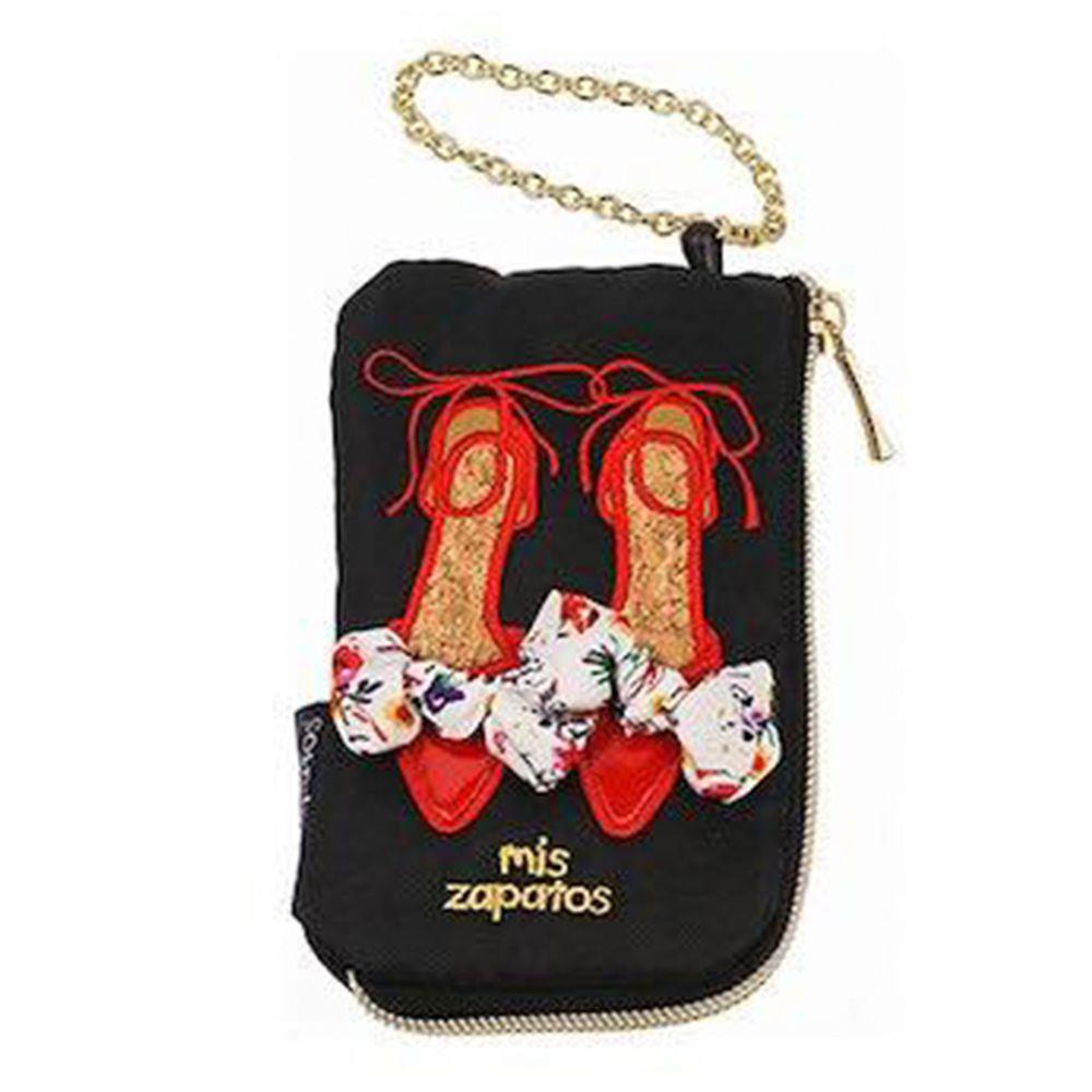 mis zapatos - 美腿零錢包票卡夾(尼龍)-skinny蝴蝶結綁帶-BK黑色 (8*13*2cm)