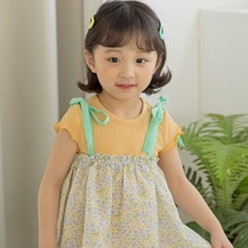 韓國 Orange Mom - 捲邊皺摺感彈性上衣-橘
