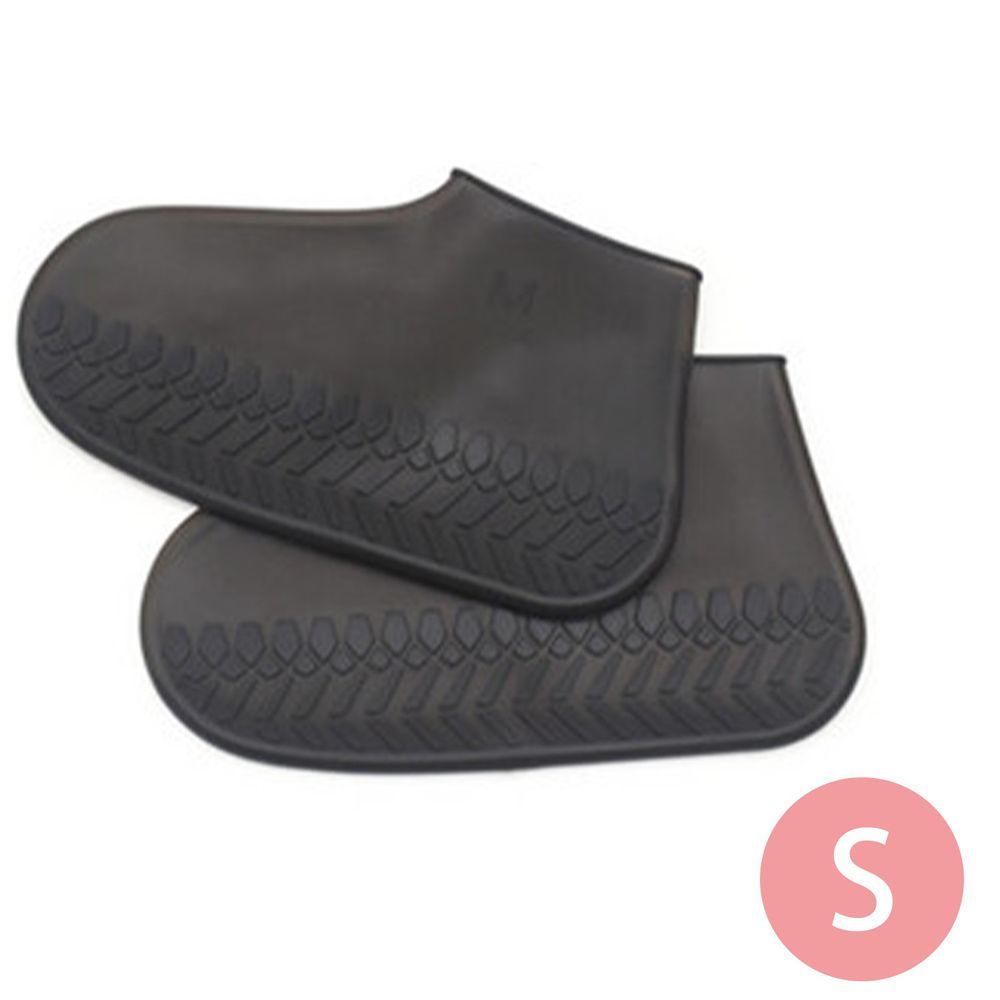 日本代購 - 防水矽膠鞋套(附收納袋)-清透黑 (S(18.5~22cm))