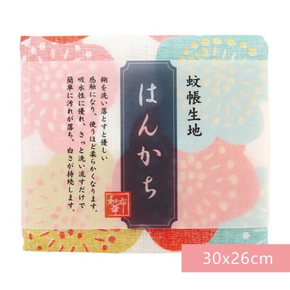 日本代購 - 【和布華】日本製奈良五重紗 手帕-繽紛花梅 (30x26cm)