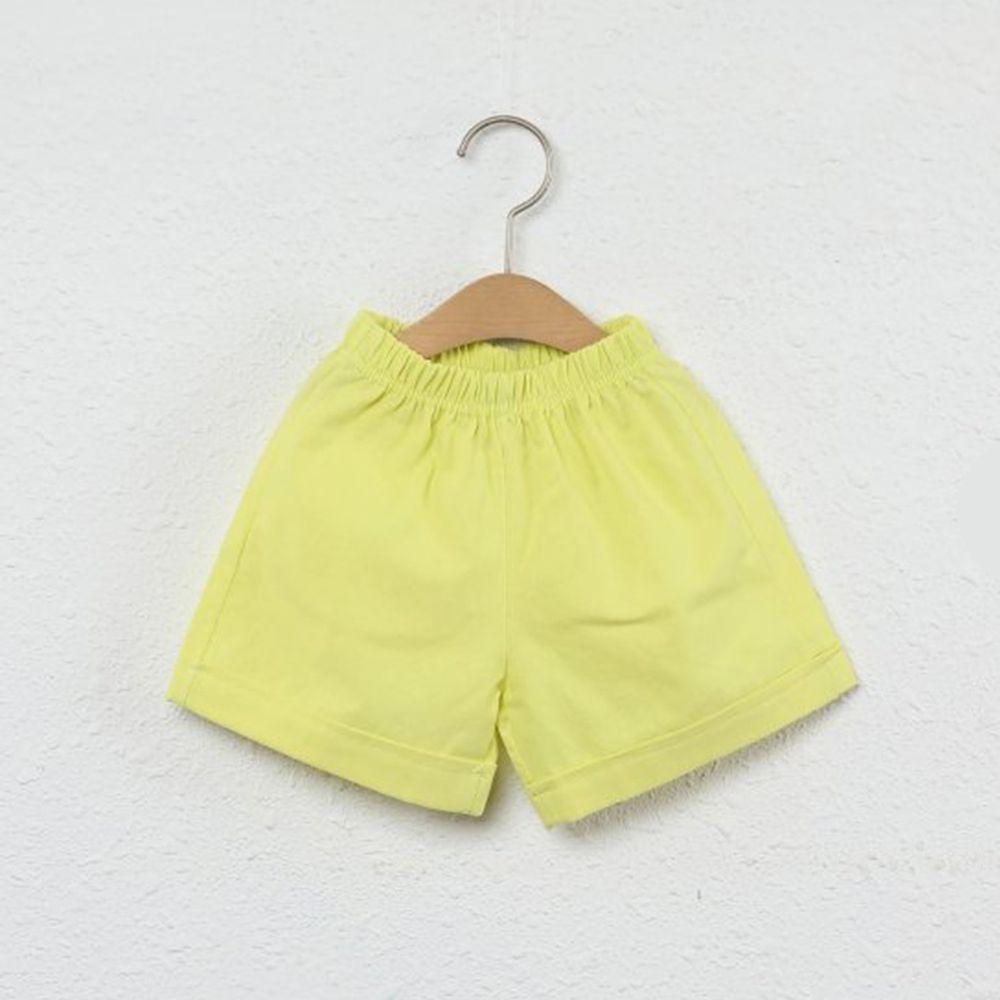 韓國製 - 水洗加工布鬆緊褲頭短褲-萊姆黃