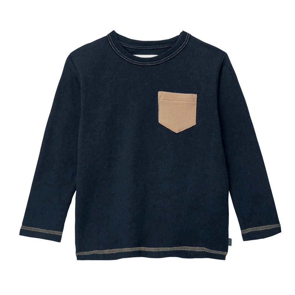 日本千趣會 - GITA 純棉輕薄舒適長T-口袋-黑