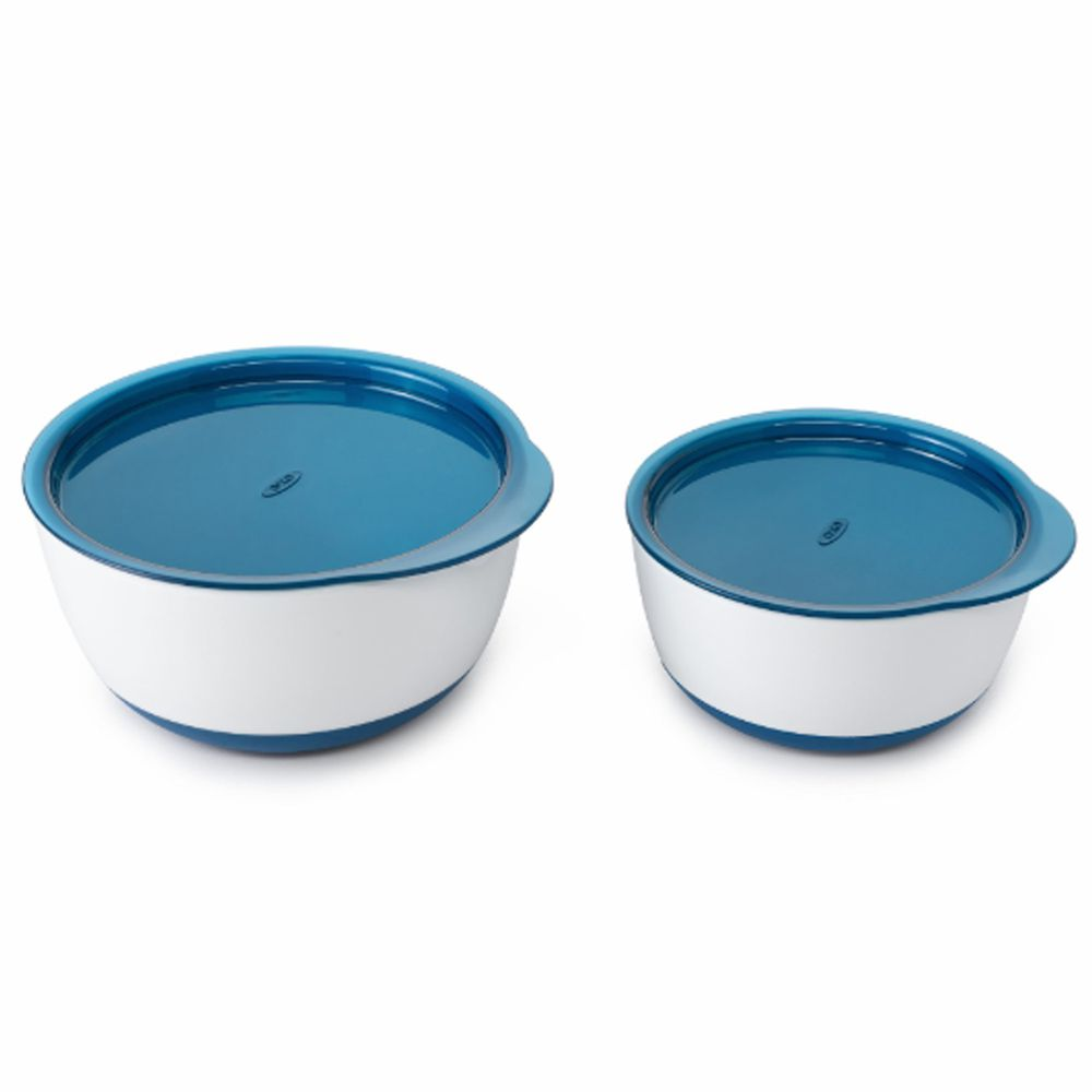 美國 OXO - OXO tot 防滑加蓋大小碗組-海軍藍 (150ml/250ml)