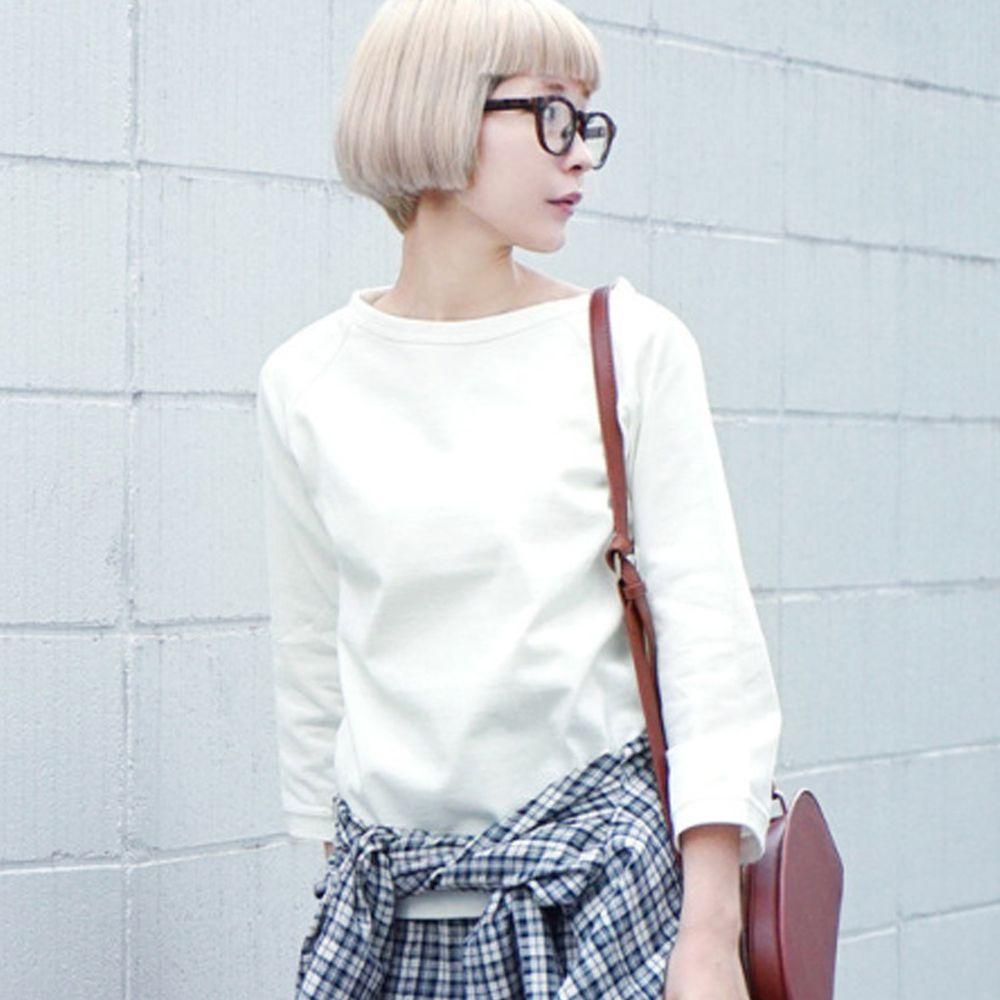 日本 zootie - [撥水/撥油加工] 抗油污耐洗純棉七分袖上衣-白