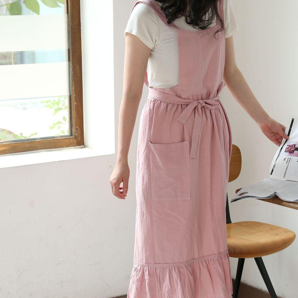 韓系荷葉裙擺花邊圍裙-粉色