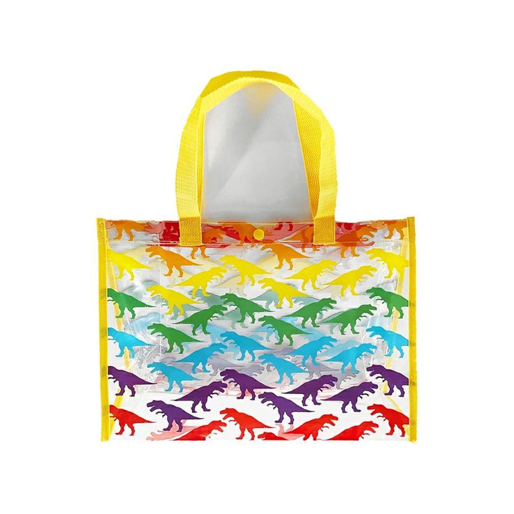日本服飾代購 - 防水PVC游泳包(雙面圖案設計)-彩色恐龍-黃 (25x36x13cm)