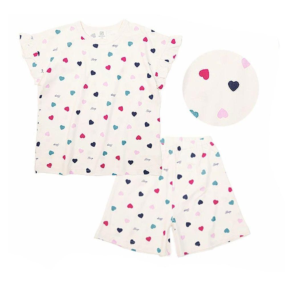日本 devirock - 純棉短袖家居服-繽紛愛心-米