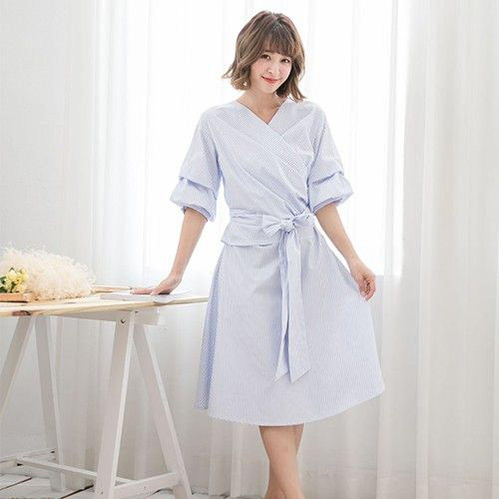 Marguerite - 藍天使條紋洋裝-淺藍