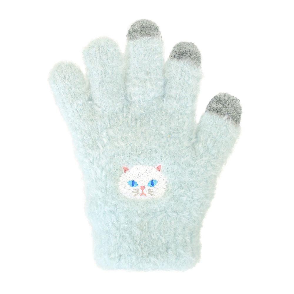 日本 TOMO - (兒童)可觸控可愛動物毛絨保暖手套-波斯貓-翠綠