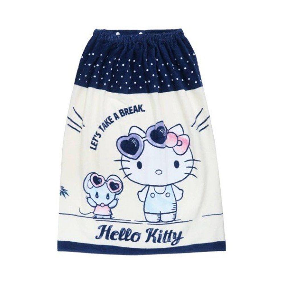 日本服飾代購 - 純棉海灘/游泳浴巾/浴袍 (附釦)-Hello Kitty 衝浪-藍X白 (長80cm(國小中年級以上))