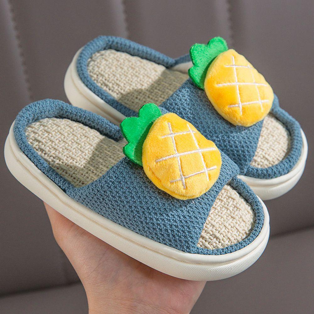 兒童款亞麻室內拖鞋-立體水果-藍色