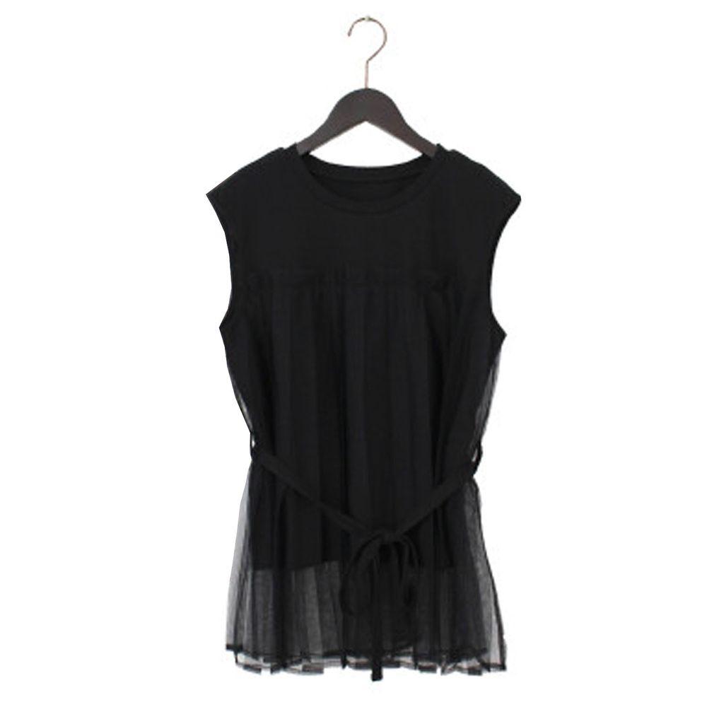 日本 Riche Glamour - 薄紗拼接腰間綁帶無袖上衣-黑