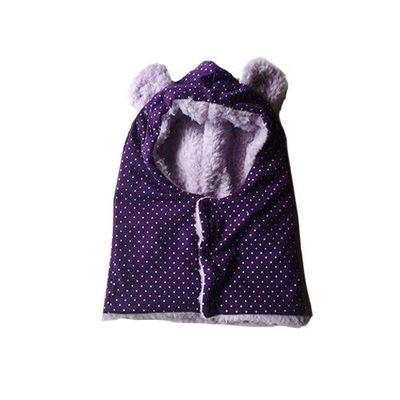 日本製動物耳朵純手工圍脖帽-滿版點點-紫