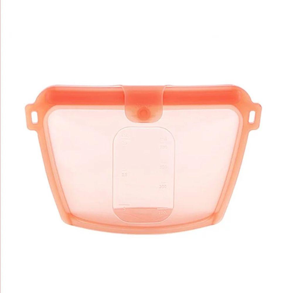 韓國 sillymann - 100%鉑金矽膠密封袋-700ml-橘紅