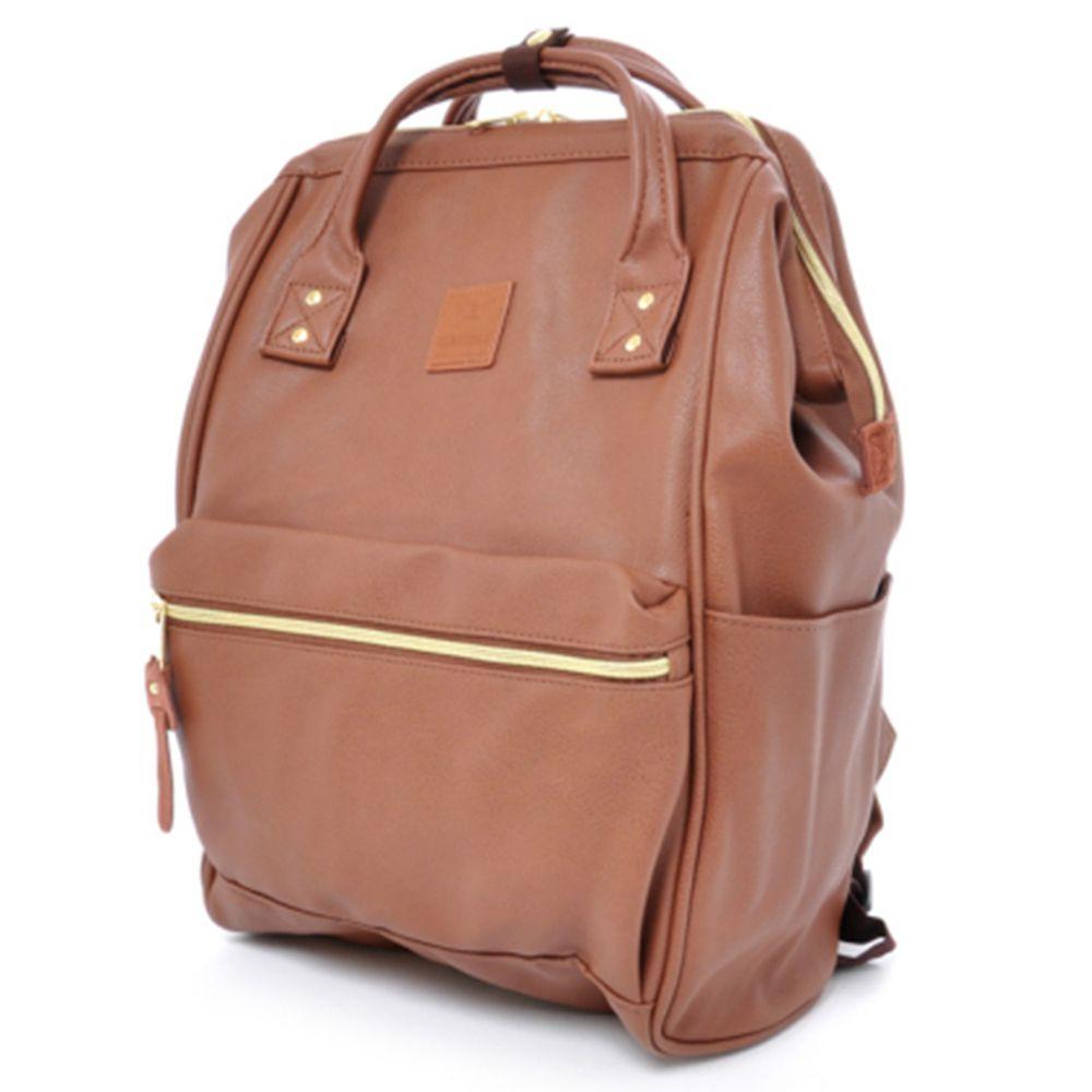 日本 Anello - 日本大開口皮革後背包-mini小尺寸-BR咖啡色