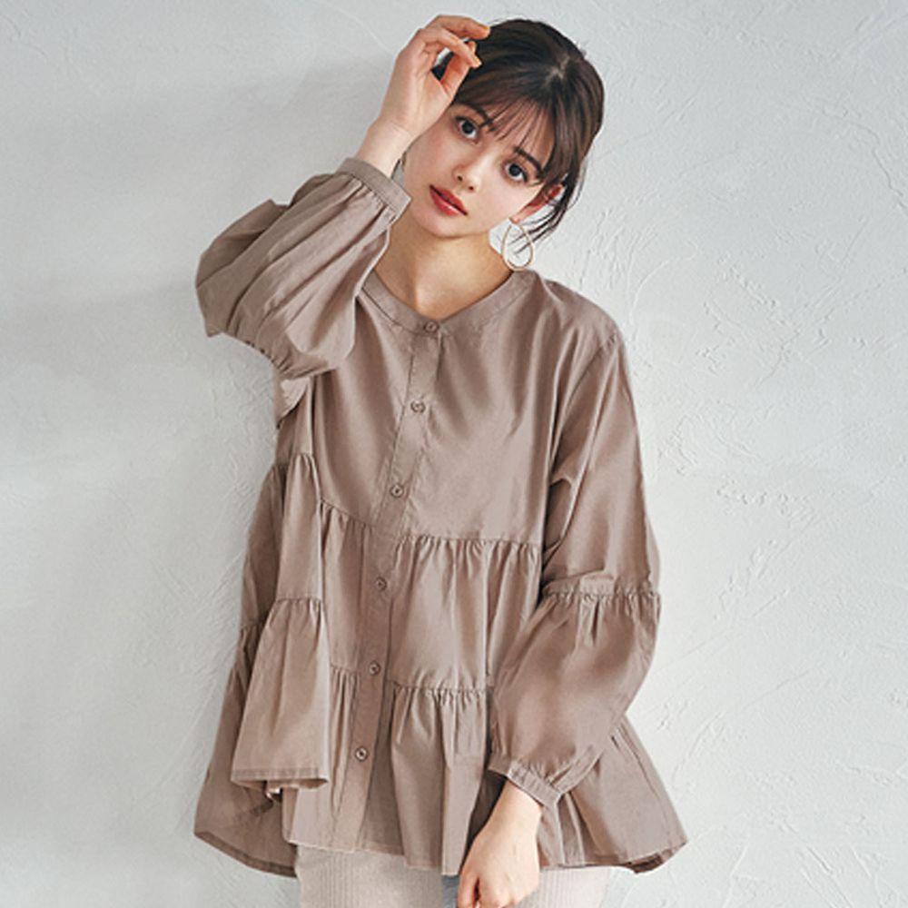 日本 GRL - 浪漫蛋糕層次寬版長袖上衣-棕