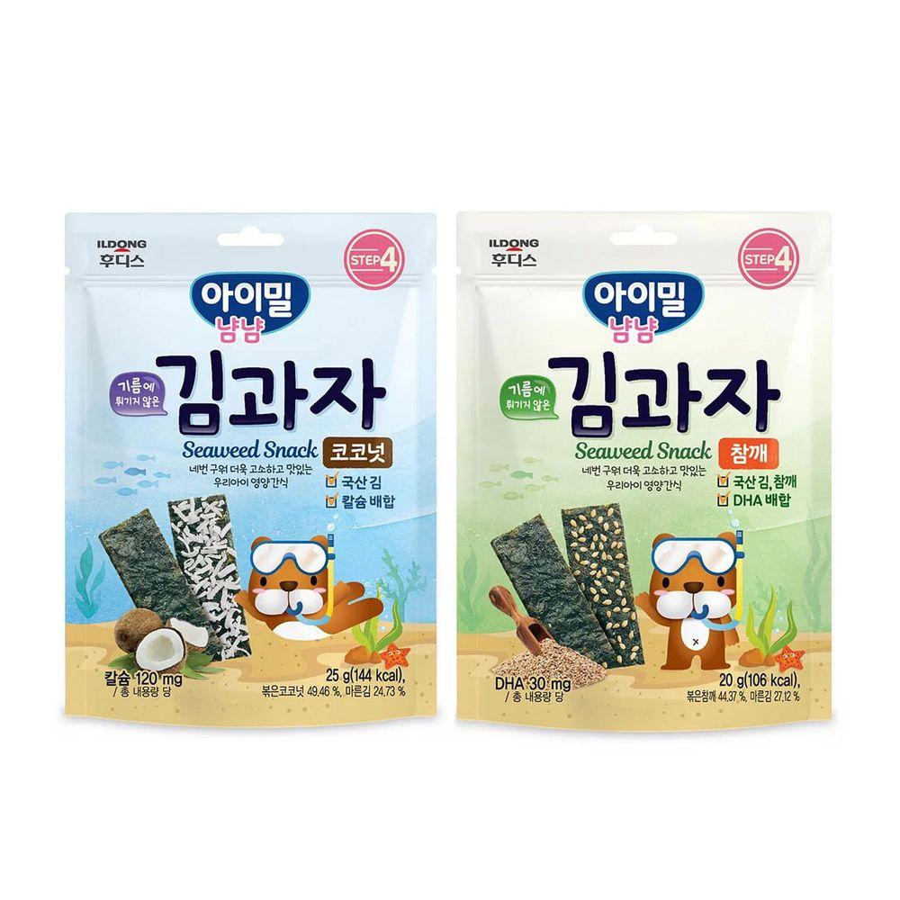 韓國Ildong Foodis日東 - 海苔夾心脆片2入組-芝麻*1+椰子*1
