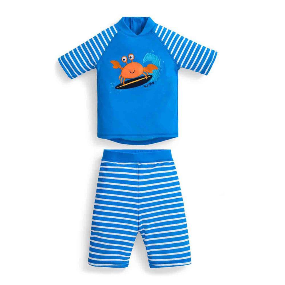 英國 JoJo Maman BeBe - 嬰幼兒/兒童兩件式防曬泳裝-螃蟹衝浪