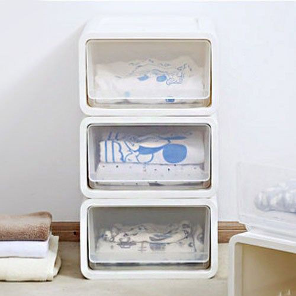 家窩 - 肯特耐重單層抽屜收納箱-白身透明抽-18公升/3入