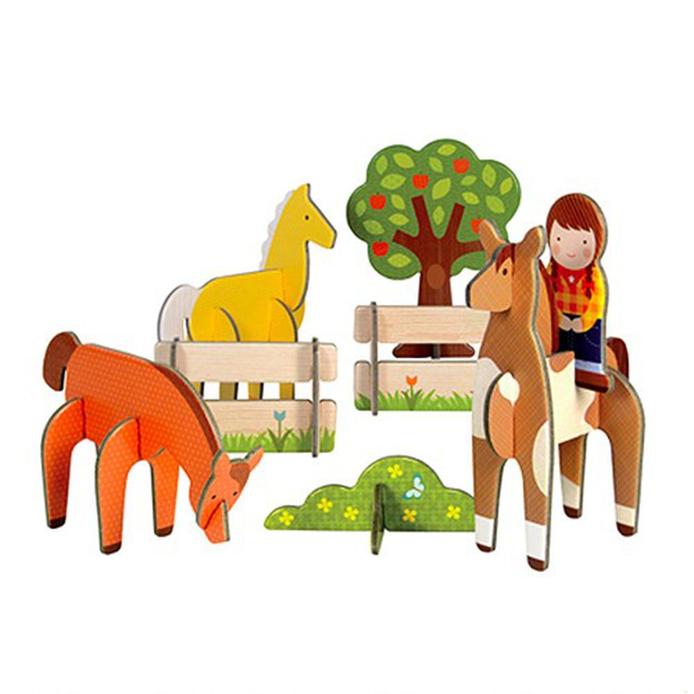 美國 Petit Collage - 立體組裝拼圖-小馬駕駕