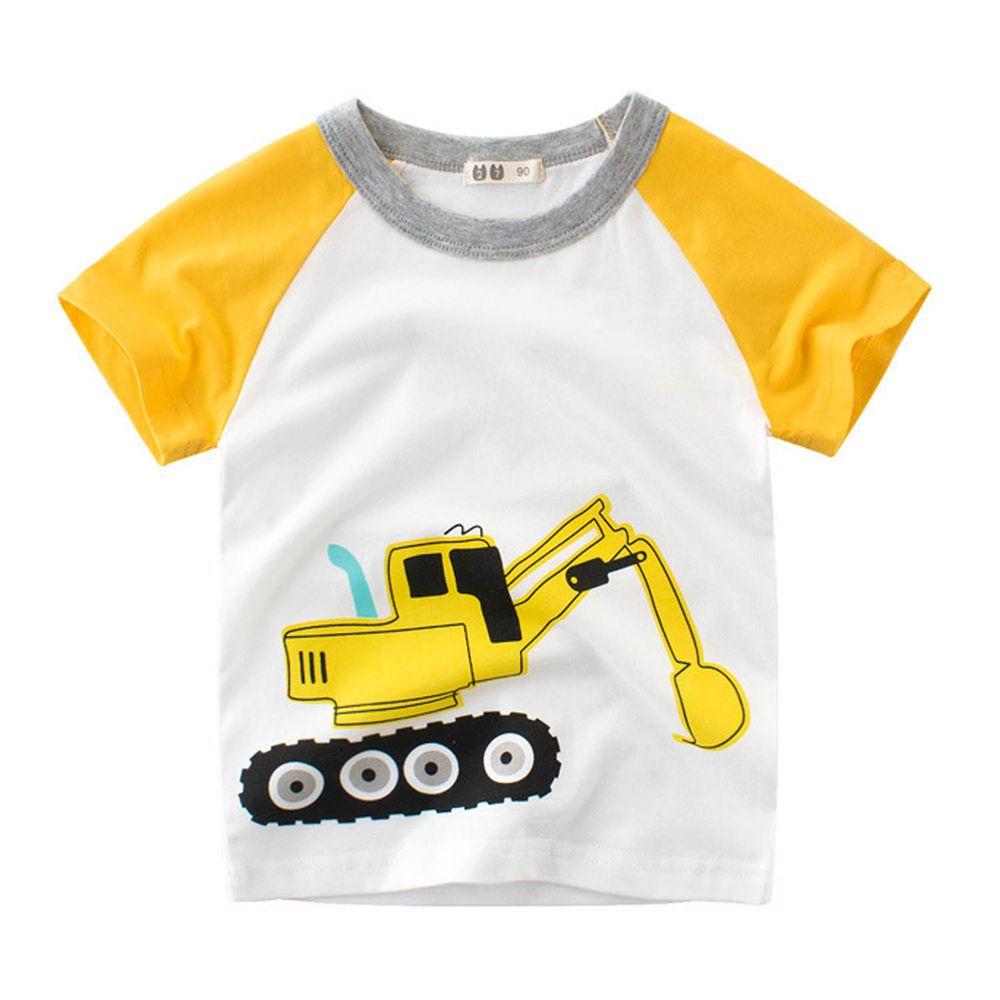 短袖棉T-挖土機