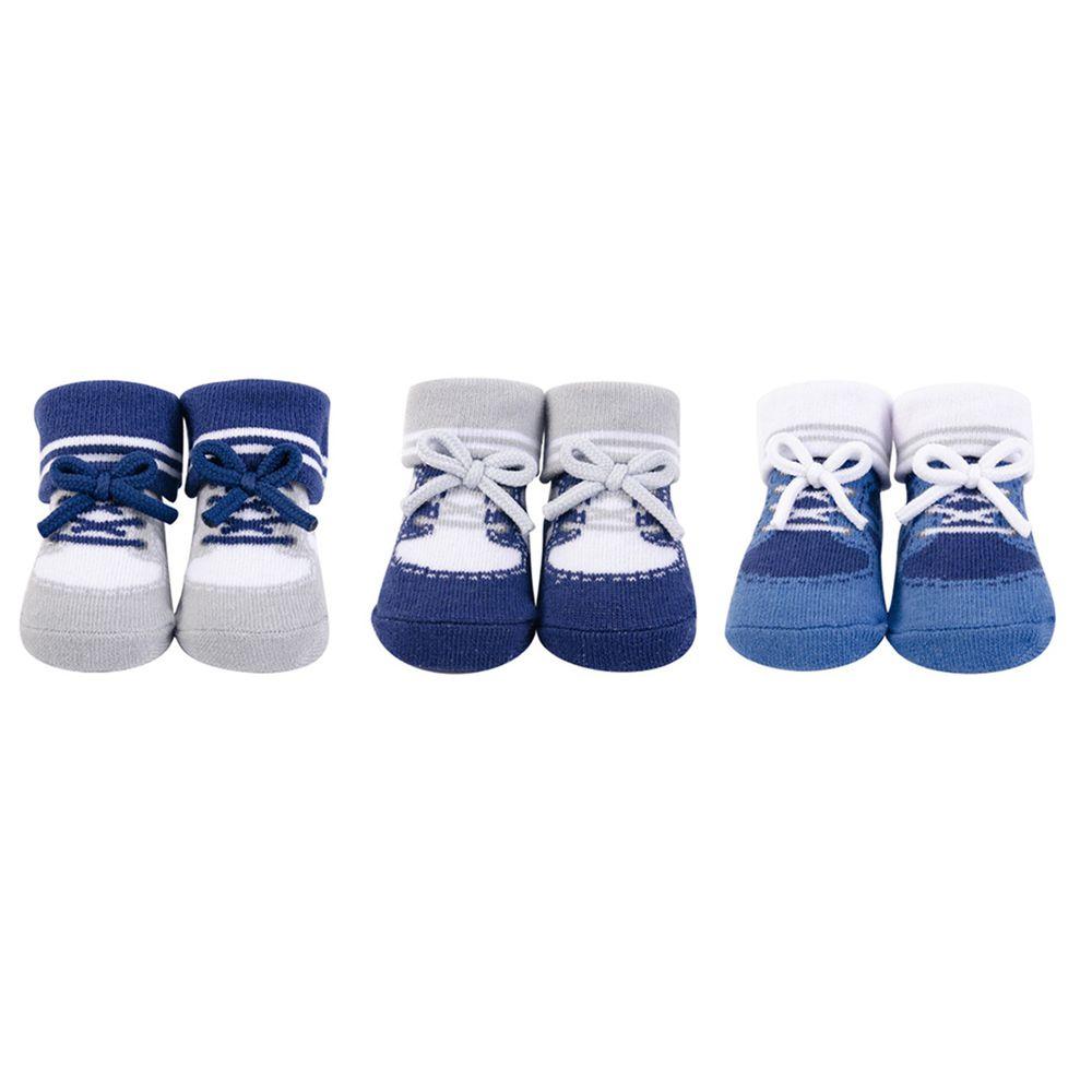 美國 Luvable Friends - 嬰兒襪/寶寶襪/初生襪 3入組-經典藍色 (0-9M)