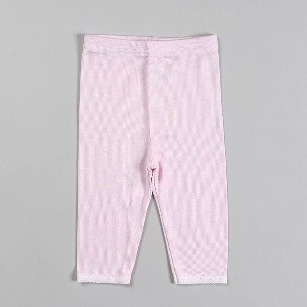 韓國 Dalla - 蕾絲螺紋6分內搭褲-粉紅