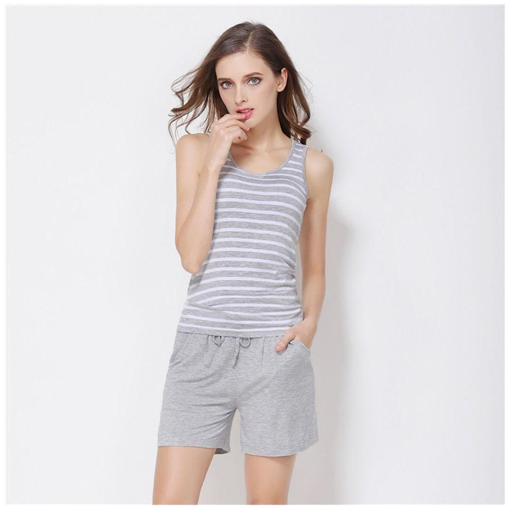 莫代爾柔軟涼感Bra T-背心款套裝-灰色條紋