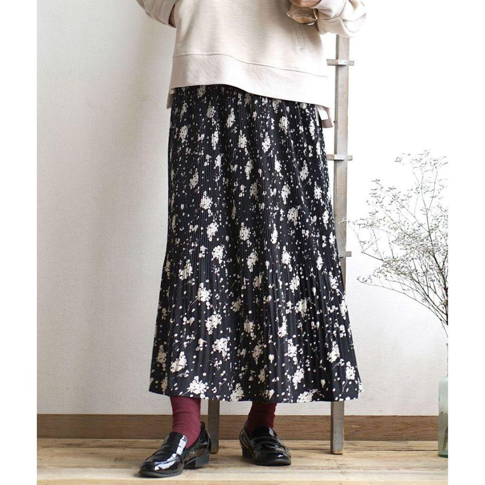 日本 zootie - 內裏保暖碎花細百褶長裙-黑