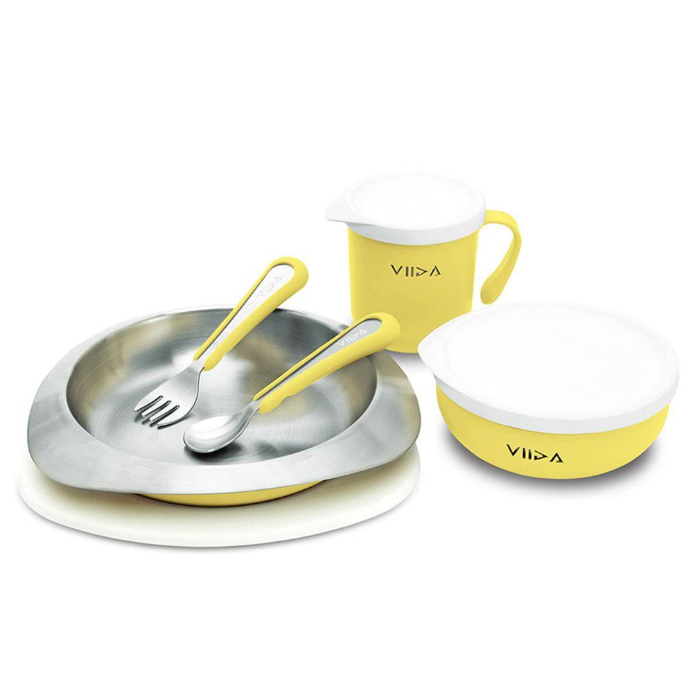 VIIDA - Soufflé抗菌不鏽鋼兒童餐具組-碗、盤、杯、叉子、湯匙-萊姆黃