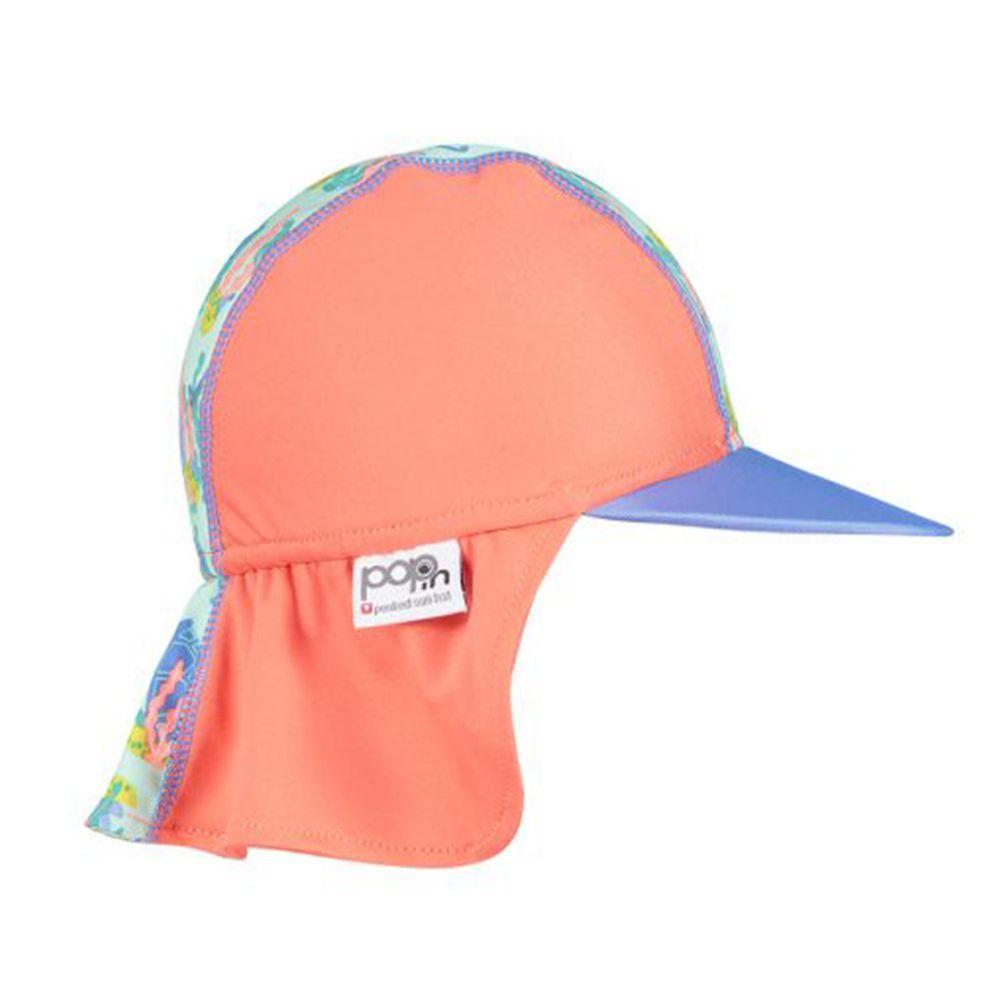 英國Pop-in - 嬰兒抗UV防曬遮頸帽-海龜