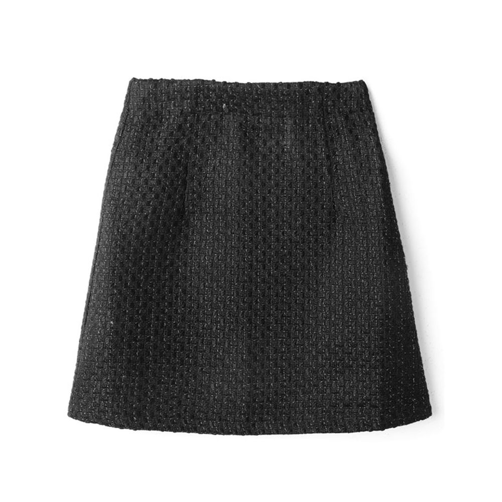 日本 GRL - 低調華麗粗花呢A字短裙-黑