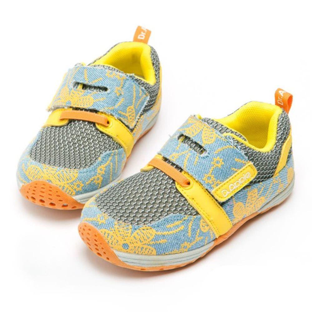 Dr. Apple - 機能童鞋-牛仔繽紛花色網布休閒鞋-黃