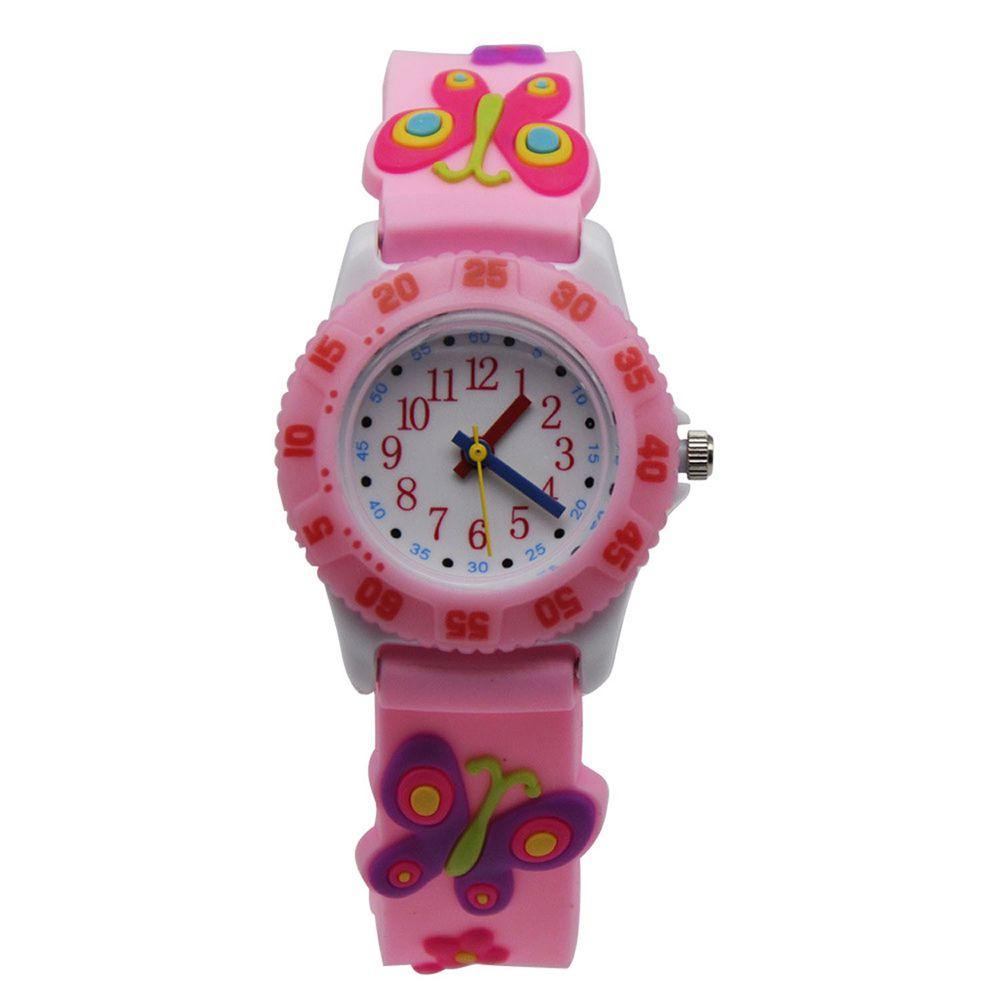 3D立體卡通兒童手錶-可旋轉錶圈-粉色蝴蝶