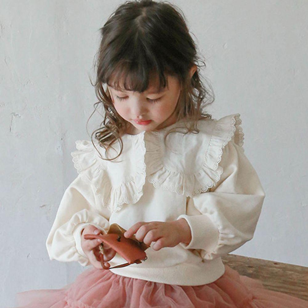 韓國 Puellaflo - 蕾絲滾邊大白領泡泡袖T-米白
